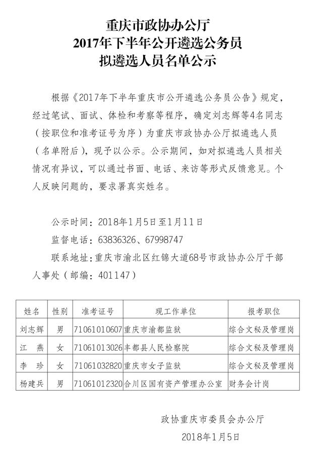 重庆市政协办公厅公开遴选
